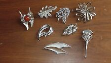 Lot of Vintage Silver Tone Brooches Sarah Coventry, Crown Trifari, AN