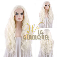 "Long Curly 28"" White Platinum Blonde Lace Front Wig Heat Resistant"