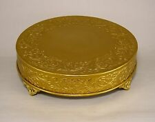 "Antique Gold Finish Cake Stand Plate Plateau 16"" Round Embossed Metal Wedding"