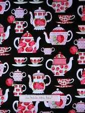 Tea Room Fabric - Pink Carnation Teapot Tea Cup Black - Michael Miller YARD