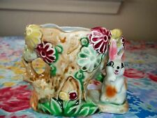 VINTAGE BUNNY SHAFFORD HAND DECORATED  CERAMIC COLLECTIBLE POSEY PLANTER