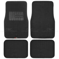 Corrugated Fine Rib Channel All Weather Carpet Car Floor Mats for Auto - Black