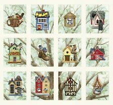 Beautiful Birds Houses Boom Cotton Quilting Fabric 12 Panels Elizabeths Studio