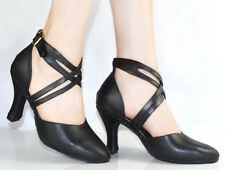New Ballroom Black Genuine leather Closed Toe Salsa Dance Shoes Heels ALL SIZE
