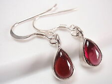 Very Small Red Garnet Teardrop Dangle Earrings 925 Sterling Silver Corona Sun