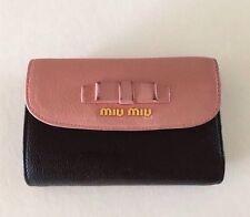 Authentic Miu Miu Madras Bi Colour Black Pink Leather Wallet