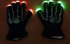 Black Knit Gloves LED Flashing Rave Party HALLOWEEN Skeleton Hand Gloves