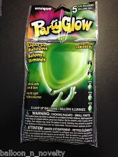 Unique LED Balloons, Light Up Balloons, Party Glow Green Balloon Deco 5 ct.
