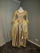 Beautiful Golden Satin Marie Antoinette Victorian Rococ Dress reproduction NEW