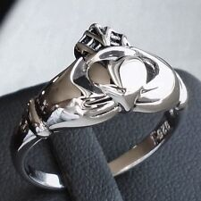 .925 Sterling Silver Celtic Loyalty Claddagh Ring Size 7 Unisex Hall New Sol N S