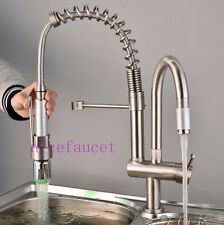 Brushed Nickel LED Kitchen Sink Faucet Pull out Spray Swivel Spout Mixer Tap