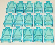 LEGO LOT OF 15 NEW LIGHT TRANSPARENT BLUE ROCK PANEL WALLS 2 X 4 X 6 PIECES