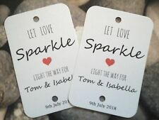 20 Wedding Day Sparkler Tags LET LOVE SPARKLE Bride Groom Personalised Names