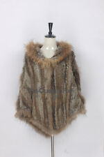 Genuine Knitted Rabbit Fur Hodded Poncho Raccoon Fur Wrap Cape Jacket Coat