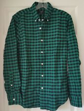J Crew Factory Slim Plaid Oxford Shirt S Small  Navy Green C4283