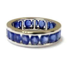 4.00 Carat Oval Sapphire Channel Set Full Eternity Ring Crafted in White Gold.