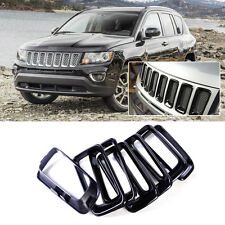 7PCS Black Front Grille Insert Trims Covers Set Fit For Jeep Compass 2011-2014