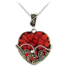 Sterling Silver Marcasite And Garnet Colored Glass Heart Pendant Necklace . H3