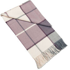 Cuddly Purple White Throw Blanket Bedspread - 100% Baby Alpaca Wool, as Cashmere