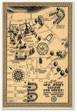 """Rutgers University Campus College MAP - Vintage New Jersey circa 1939 24"""" x 36"""""""