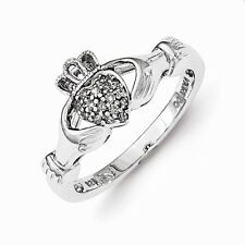 STERLING SILVER .08CT  DIAMOND CLADDAGH  RING - SIZE 6