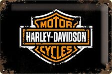 Harley Davidson Bar and Shield embossed metal sign  300mm x 200mm (na)