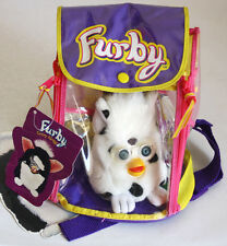 "VERY RARE 1999 FURBY CARRY ALONG 4"" PLUSH + BAG BACKPACK TIGER BRAND NEW !"