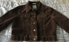 OLD NAVY Cropped Corduroy Jean Jacket Chocolate Brown Stretch Women's Size Small