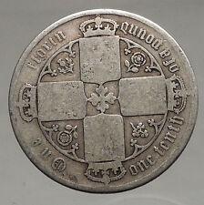 1848-1887 United Kingdom Great Britain VICTORIA Old Silver Florin Coin i56691