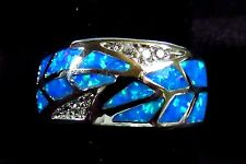 "Sterling 925 Silver SF Size 7 Ring Blue Lab Fire Opal & White Topaz 3/8"" Wide"