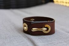 TOD'S BROWN LEATHER CUFF BRACELET GOLD DETAIL CLASP SMALL WOW
