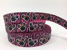 "BTY Pink 7/8"" Disney Minnie Mouse Zebra Print Grosgrain Ribbon Hair Bows Lisa"