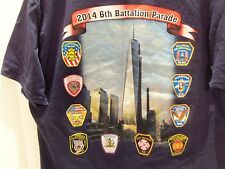 6TH BATTALION TRIBUTE  911 FIRE FIGHTERS T-SHIRT (LARGE) 2 SIDED- RARE
