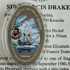 ZAMBIA 2000 COLORATE Sir Francis Drake OVALE 1000 KWACHA PROOF-COA