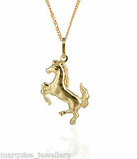 "9ct Gold Leaping Horse Pendant & 18"" 9ct Gold Chain."
