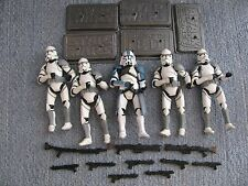 "Star Wars Hasbro Attack on Coruscant 5 Pc Trooper Lot 3.75"" + Base Extra Weapon"