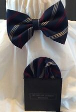 Boys Bow Tie And Faux Handkerchief Blue Striped With Red Gray Adjustable Close