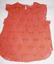 Next Rust brown mirror short sleeved embroidered top Size 16 vgc
