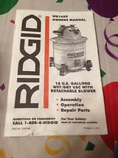 RIDGID OWNER'S  OPERATOR'S MANUAL FOR WD1650 Shop Vac Blower