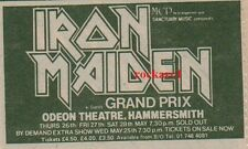 IRON MAIDEN UK TIMELINE Advert -Hammersmith Thur/Fri/Sat 26-27-28  May 1983 3x2""
