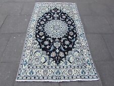 Old Traditional Hand Made Persian Rug Wool Silk Navy Blue Rug 197x117cm