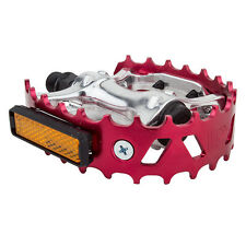 "OLD SCHOOL BMX VP 747 BEAR TRAP PAIR OF PEDALS 9/16"" RED"