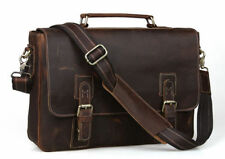 "Mens Bull Cowhide Leather Tote Briefcase Laptop 15"" Bag Messenger Shoulder Cases"