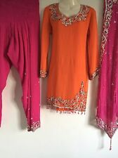 Salwar Kameez Shalwar saree Indian Bollywood Fancy Dress Costume (L) UK16 Orange