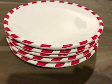 Pottery Barn Christmas Peppermint Candy Cane Salad Plates Set of 5 - New, no box