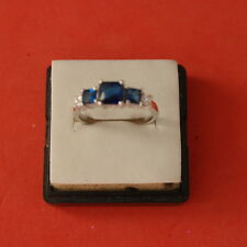 BEAUTIFU NATURAL Blue Sapphire WHITE CZ 925  SOLID SILIVER RING SIZE R12 IN BOX