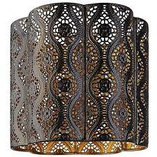 Bnwt Nero Oro Taglio Scalloped marocchina in metallo soffitto luce ombra pendente nuovo