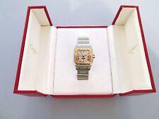 Men Cartier Santos Moonphase 29mm Ref 119901 18K Gold/SS Pointer Date Watch/Box