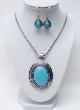 Large Oval Silver w/Turquoise Cabochon Pendant Necklace & Earrings Set