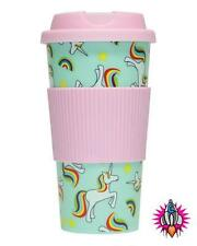 UNICORN AND RAINBOWS 16OZ  INSULATED PLASTIC TRAVEL MUG CUP WITH LID
